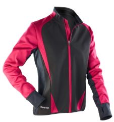 WOMENS SPIRO BLACK/PINK FREEDOM SOFSHELL JACKET WITH EMBROIDERED LOGO